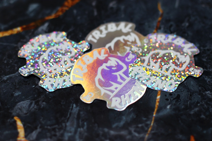Die cut holographic and glitter Tribal Rhino stickers