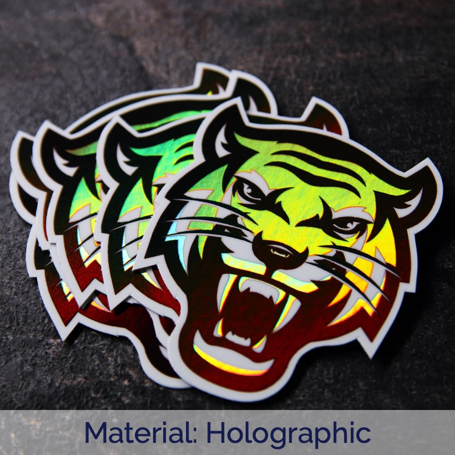 A pile of tiger holographic die cut sticker
