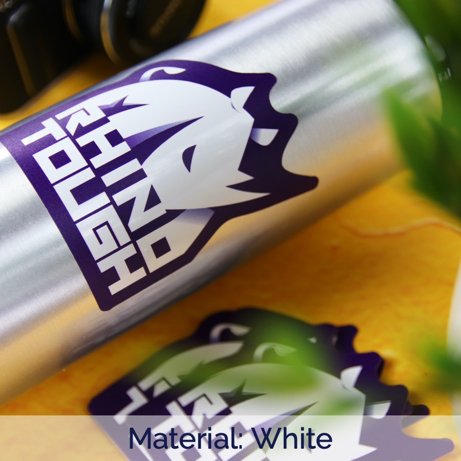 Rhino tough white die cut sticker applied to a water bottle