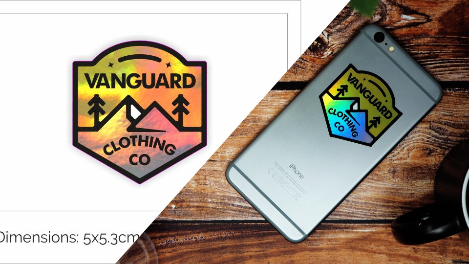 Vanguard design proof next to the finished sticker applied to an iPhone