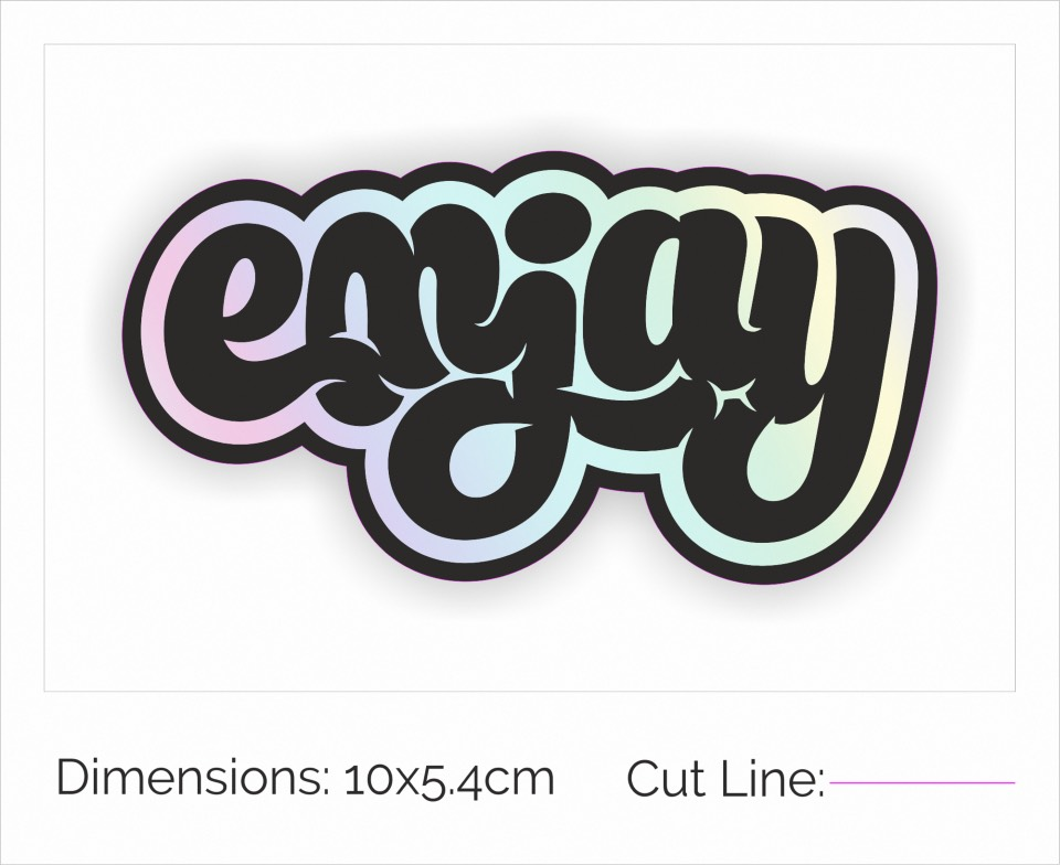 Holographic sticker proof of enjoy logo