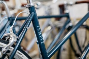 Temple Cycles bike with a clear sticker on the frame