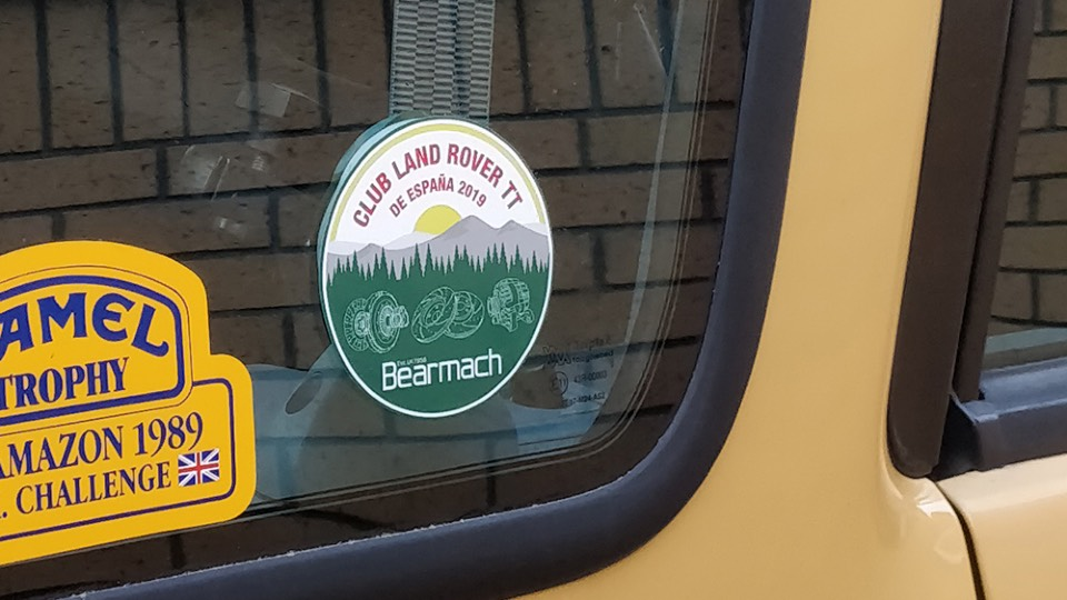 Bearmach circle sticker on sand coloured Landrover