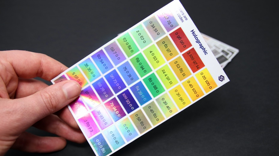 Colour swatch printed on holographic