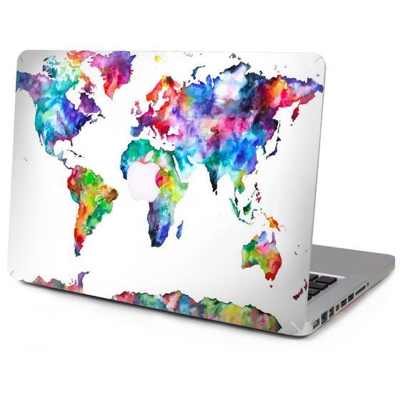 Colourful world laptop sticker on a MacBook