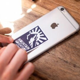 White rectangle vinyl phone sticker