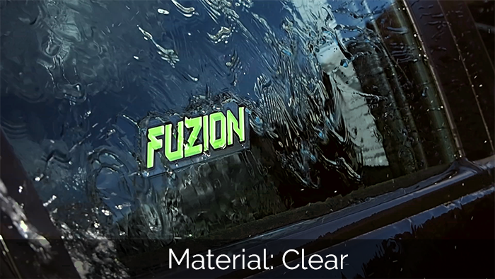 Clear fuzion car sticker apples to a car window being hosed down