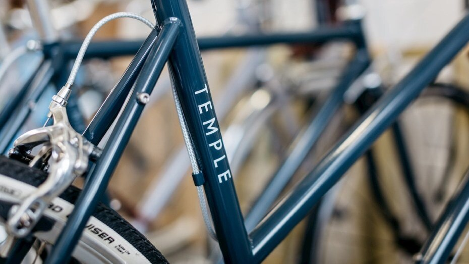 Temple Cycles bikes in their Bristol store with a clear rectangle sticker applied to the frame