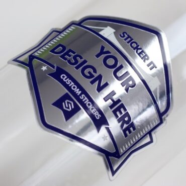 Mirror silver sticker applied to a glass bottle