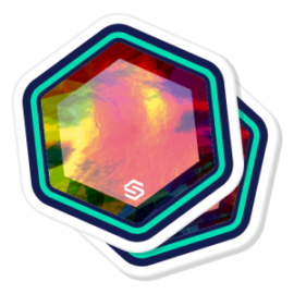 2 holographic die cut stickers stacked on top of each other