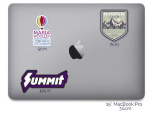 Macbook with stickers applied for size help