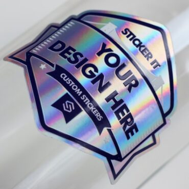 Holographic material sticker applied to a glass bottle
