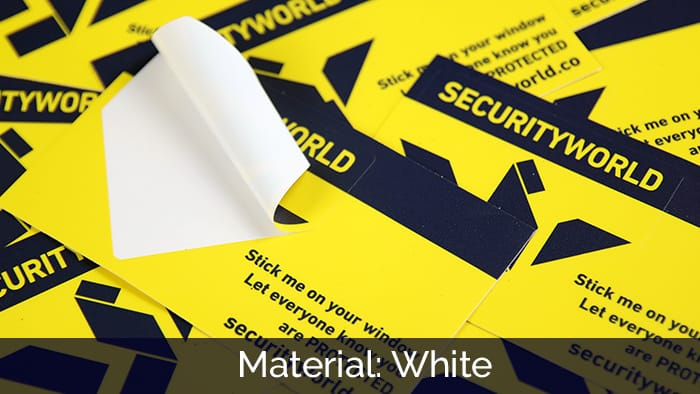 White security yellow kiss cut stickers