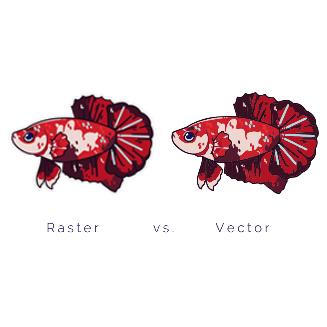 Fish design in a raster and vector format