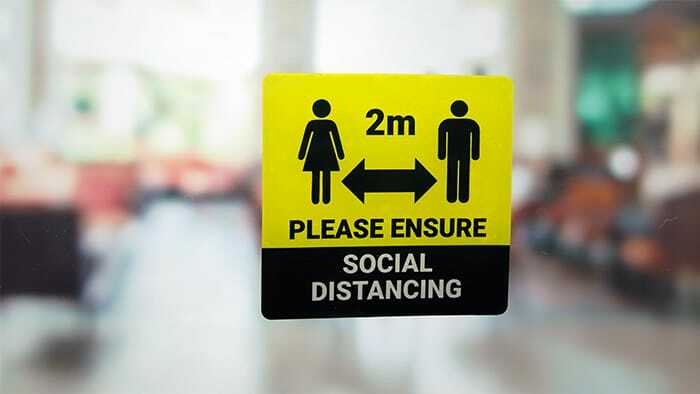 Custom rounded corner 2m social distance static cling sticker