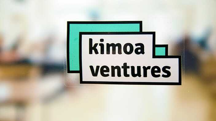 Rectangle white and green Kimoa ventures static cling window sticker
